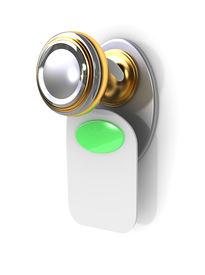 foto of door-handle  - empty label on a door handle  - JPG