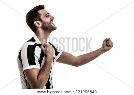 Soccer fan celebrating on white