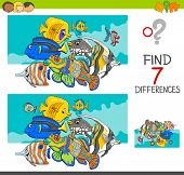 Differences Game With Funny Animals For Coloring poster