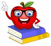 image of cartoon character  - Vector illustration of a smart apple pointing with his finger - JPG