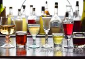 Selection Of Alcoholic Drinks. Set Of Wine, Brandy, Liqueur, Tincture, Cognac, Whiskey In Glasses. L poster