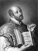 Ignatius of Loyola (1491-1556). Engraved by W.Holl and published in The Gallery Of Portraits With Me