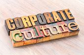 corporate culture word abstract in letterpress wood type printing blocks poster