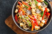 Stir Fry With Noodles, Tofu And Vegetables poster