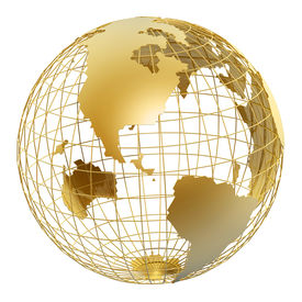 picture of world-globe  - golden globe of USA isolated on white background - JPG