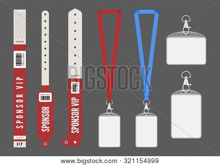 poster of Badge Mockup. Red Cards Lanyard Bracelets For Id. Vector Entrance Keys For Events. Identity Card Aut