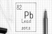 The Periodic Table Of Elements. Handwriting Chemical Element Lead Pb With Black Pen, Test Tube And P poster
