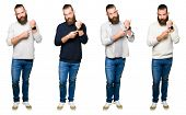 Collage of young man with bun over white isolated background In hurry pointing to watch time, impati poster
