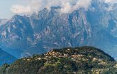 Scenic Province Of Como. Northern Italy. Lake Front Villages And Alps In A Background. Italian Summe poster