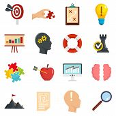 Solution Icon Set. Flat Set Of Solution Vector Icons For Web Design poster