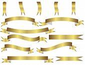 Set Flat Gold Decorative Ribbons. Realistic 3d Gold Glossy Decorative Congratulation Ribbons Set. Re poster