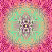 Psychedelic Trippy Colorful Fractal Mandala, Gradient Bright Color Outline, Isolated Background. Dec poster