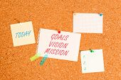 Writing Note Showing Goals Vision Mission. Business Photo Showcasing Practical Planning Process Used poster