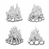 Traveller Camping Fireplace Sketch. Vintage Bonfire Vector Sketch, Hand Drawn Travel Camp Fire Illus poster