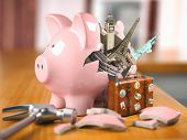 Travel, tourism, planning budget of a  rip or vacation concept.  Broken piggy bank and most popular  poster