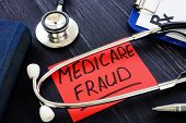 Medicare Fraud Sign And Stethoscope With Papers. poster