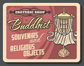 Buddhism Religion, Esoteric And Buddhist Souvenirs Retro Vector. Lotus Flower And Dhvaja Or Dhwaja F poster
