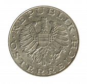 stock photo of shilling  - Old Austrian 10 Schilling coins on white background - JPG