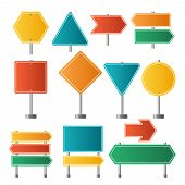 Road Signs. Traffic Highway Dirrection Travel Road Signs Vector Illustrations. Road Sign, Highway Em poster