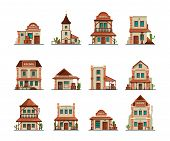 Western Constructions. Old Wild West Town Store Saloon Cowboy Bar Vector Building In Cartoon Style.  poster