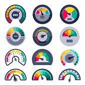 Speedometers Symbols. Indicate Level Score Meter Indices Measure Vector Templates. Illustration Mete poster