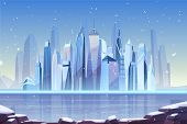 Snowfall In Modern City Cartoon Vector With Futuristic Skyscrapers On Frozen River Shore Illustratio poster
