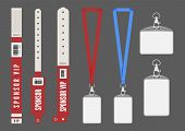 Badge Mockup. Red Cards Lanyard Bracelets For Id. Vector Entrance Keys For Events. Identity Card Aut poster