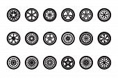 Car Wheel Collection. Automobile Tire Silhouettes Racing Vehicle Wheels Vector Pictures. Illustratio poster