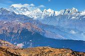 Panoramic View Of Himalaya Range From Pikey Peak - Trekking Trail From Jiri Bazar To Lukla And Evere poster