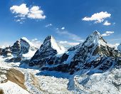 View Of Mount Cholo, Kangchung Peak And Nirekha Peak, Way To Cho Oyu Base Camp, Gokyo Valley, Sagarm poster