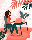 Business Woman Freelancer Remotely Working On Laptop Sitting At Domestic Table Workplace. Freelance, poster
