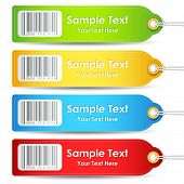 illustration of set of colorful tag with bar code sticker