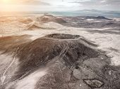 Beautiful panoramic birds eye view on Calderon Hondo, Fuerteventura island. Aerial shooting vulcano  poster