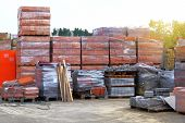 Construction Materials. Building Materials For Construction In Construction Store. Pile Of Brickwork poster