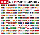 stock photo of flags world  - All 192 Sovereign States  - JPG