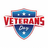 Modern Design Veterans Day Concept Background With Shield And Stars. Illustration Of Veterans Day Ve poster