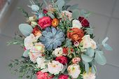 Bridal Bouquet. The Brides Bouquet. Beautiful Bouquet Of White, Blue, Pink Flowers And Greenery poster