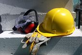 pic of personal safety  - Safety gear kit close up on work place - JPG