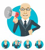 Vector Illustration Of Businessman Emotions. Businessman With Megaphone. Businessman Thinking. Busin poster