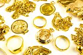 foto of dowry  - Close up of Gold in varies jewelry form on white isolated background - JPG