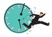 Businessman Running With A Broken Clock Behind. Concept Of Time Management Or Urgency. Flat Isolated poster