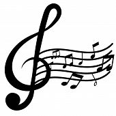 Isolated Treble Clef And Music Note On White Back Ground poster