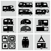 stock photo of camper-van  - Recreation Vehicle Icons set - JPG