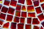 Horizontal Pattern Of Red Street Mosaic. Background From Red-orange Glass Mosaic. Beautiful Bright B poster