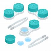 Isometric Contact Lenses Set With Tweezers And Contact Lenses Individual Plastic Case. Opened And Cl poster