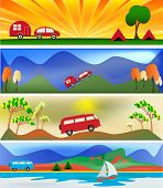 foto of campervan  - A set of Camping and Caravaning Banner Template illustrations - JPG