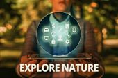 Text Sign Showing Explore Nature. Conceptual Photo Reserve Campsite Conservation Expedition Safari P poster