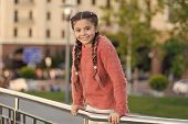 Small Beauty. Small Child With Brunette Hair Plaits Smiling In Casual Fashion Style. Happy Small Gir poster