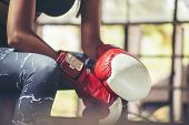 Muay Thai Woman And Healthy Concept.boxing Women Prepare To Trianing Session And Kickboxing,workout  poster