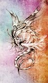 picture of woman dragon  - Sketch of tattoo art - JPG